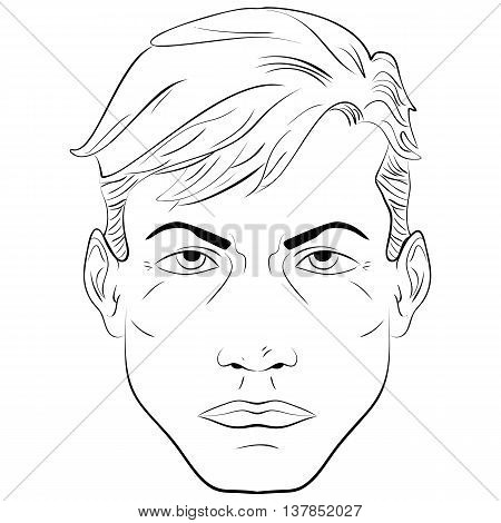 Sketch. Portrait of a handsome man face close-up black and white vector illustration man face pattern