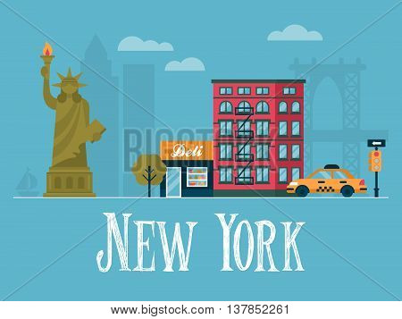 Flat stylish vector illustration for New york City USA. Travel and tourism concept
