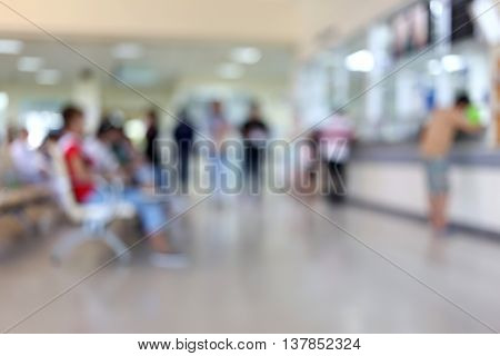 Blur of interior in the hospital for design background.