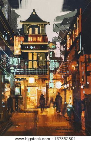 shopping place and cafes with illumination at night, illustration painting
