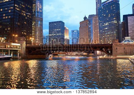 CHICAGO, IL - CIRCA APRIL, 2016: Chicago at twilight. Chicago is the third most populous city in the United States