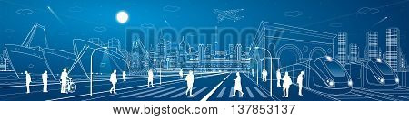 Mega infrastructure city panorama, train railway station, people walking on street, industrial and transportation illustration, night town, airplane flying, cargo port, vector design art