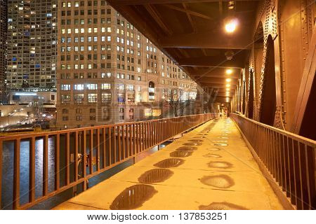 CHICAGO, IL - CIRCA APRIL, 2016: Chicago at night time. Chicago is the third most populous city in the United States