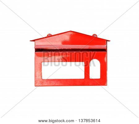 Red mail box isolated on white background.