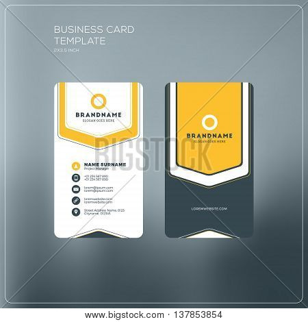 Vertical Business Card Print Template. Personal Business Card With Company Logo. Black And Yellow Co