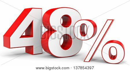 Discount 48 percent off. 3D illustration on white background.