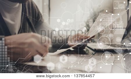 Businessman Strategy Report Process.Economy Analyst Research Social Trading.Business Team Work Startup Office.Global Marketing Virtual Icon.Innovation Graph Interface.Analyze market stock.Blurred
