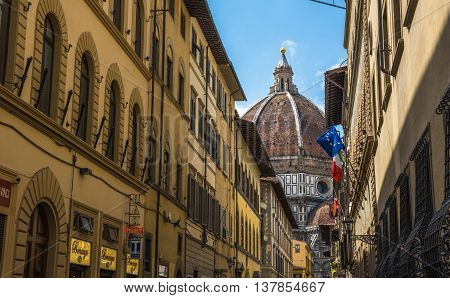 Street Of Florence With Santa Maria Del Fiore Cathedral, Also Called Duomo, In The Back, Tuscany, It
