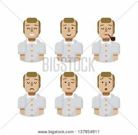 Stock vector illustration set male avatars, avatar with wide smile, male avatar with slight smile, avatar with pipe in mouth, upset, avatar winks, avatars surprised, Emoji, avatar balding flat-style