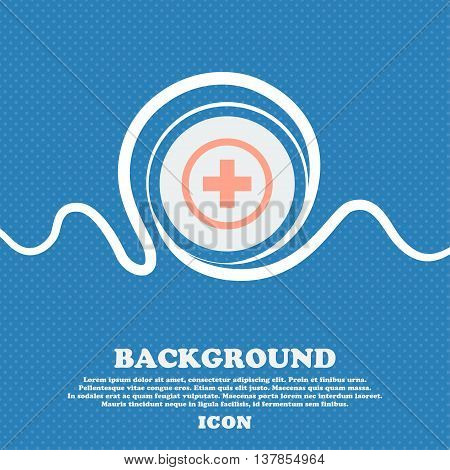 Plus Sign Icon. Positive Symbol. Zoom In. Blue And White Abstract Background Flecked With Space For