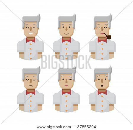 Stock vector illustration set male avatars, avatar with wide smile, male avatar with slight smile, avatar with pipe in mouth, upset, avatar winks, avatars surprised, Emoji, avatar blond man flat-style