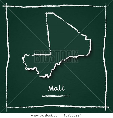 Mali Outline Vector Map Hand Drawn With Chalk On A Green Blackboard. Chalkboard Scribble In Childish