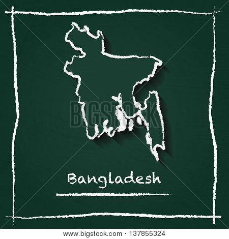 Bangladesh Outline Vector Map Hand Drawn With Chalk On A Green Blackboard. Chalkboard Scribble In Ch