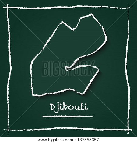 Djibouti Outline Vector Map Hand Drawn With Chalk On A Green Blackboard. Chalkboard Scribble In Chil