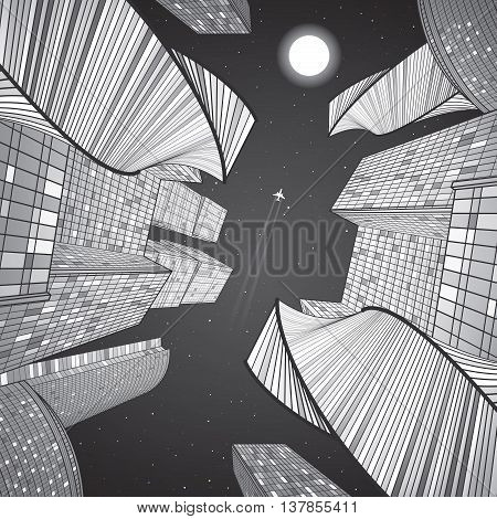 Business building, night city, urban life, infrastructure illustration, modern architecture, skyscrapers, airplane flying, vector design art
