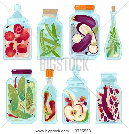 Different glass jars with preserved vegetables and fruit. Vector illustration