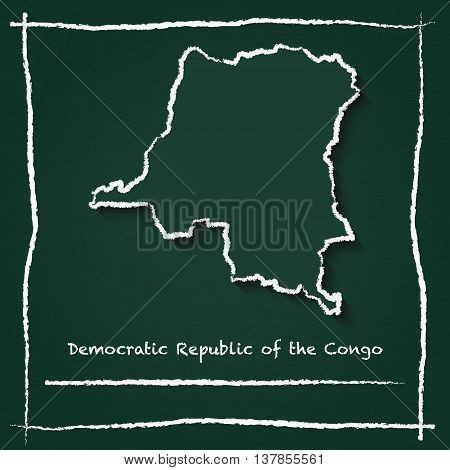 Congo, The Democratic Republic Of The Outline Vector Map Hand Drawn With Chalk On A Green Blackboard