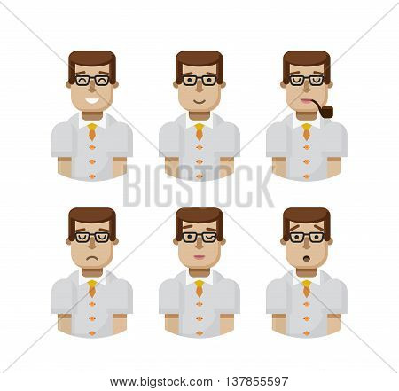 Stock vector illustration set male avatars, avatar with wide smile, male avatar slight smile, avatar with pipe in mouth, upset, avatar winks, avatars surprised, Emoji, hipster in glasses flat-style