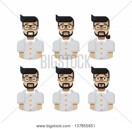 Stock vector illustration set male avatars, avatar with wide smile, male avatar slight smile, avatar with pipe in mouth, upset, avatar winks, avatars surprised, Emoji, avatar beard glasses flat-style
