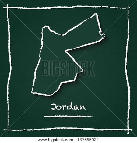 Jordan Outline Vector Map Hand Drawn With Chalk On A Green Blackboard. Chalkboard Scribble In Childi