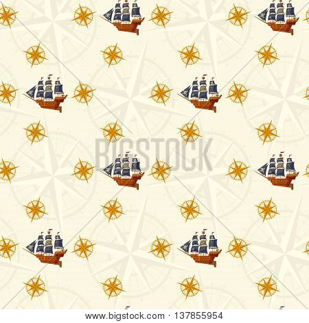 Pirate Ship and windrose. Nautical Collection. Seamless background pattern. Vector illustration