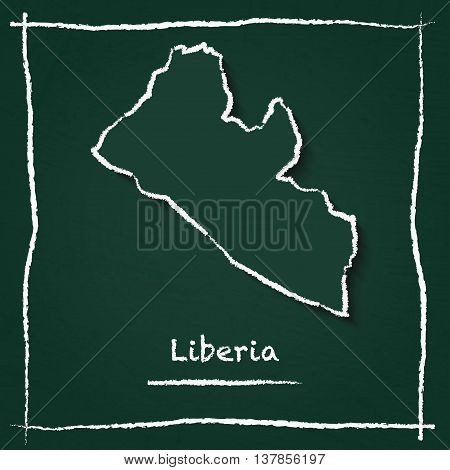 Liberia Outline Vector Map Hand Drawn With Chalk On A Green Blackboard. Chalkboard Scribble In Child