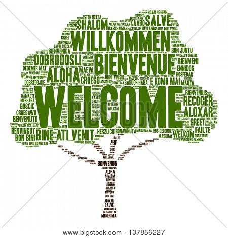 Concept or conceptual abstract tree welcome or greeting international word cloud in different languages or multilingual isolated