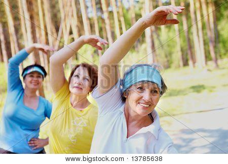 Retrato de mulheres envelhecidas, com os braços levantados ao fazer exercício físico