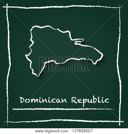 Dominican Republic Outline Vector Map Hand Drawn With Chalk On A Green Blackboard. Chalkboard Scribb