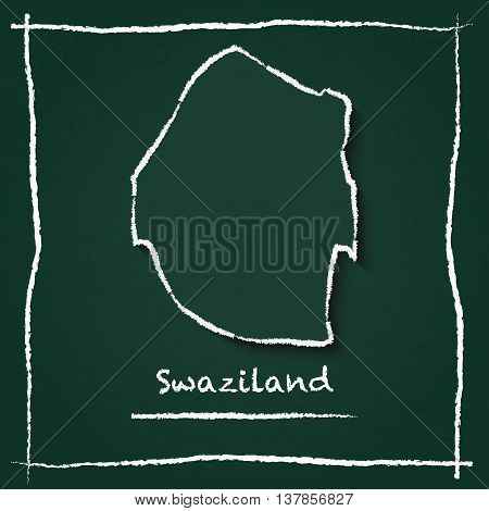 Swaziland Outline Vector Map Hand Drawn With Chalk On A Green Blackboard. Chalkboard Scribble In Chi