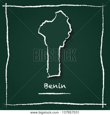 Benin Outline Vector Map Hand Drawn With Chalk On A Green Blackboard. Chalkboard Scribble In Childis