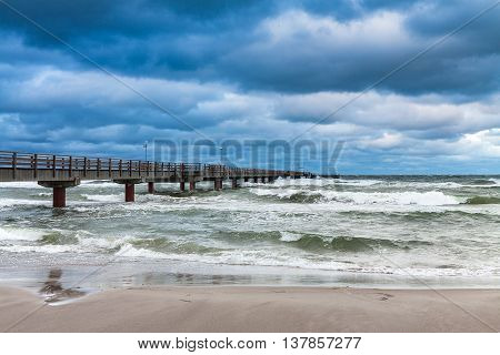 Pier on the Baltic Sea coast in Prerow (Germany).