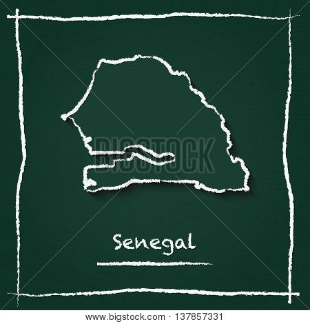 Senegal Outline Vector Map Hand Drawn With Chalk On A Green Blackboard. Chalkboard Scribble In Child
