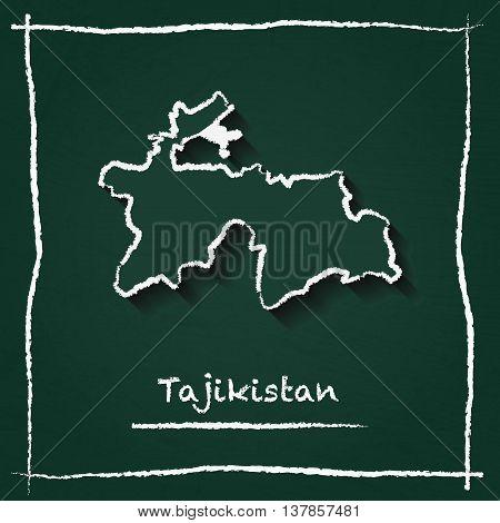 Tajikistan Outline Vector Map Hand Drawn With Chalk On A Green Blackboard. Chalkboard Scribble In Ch