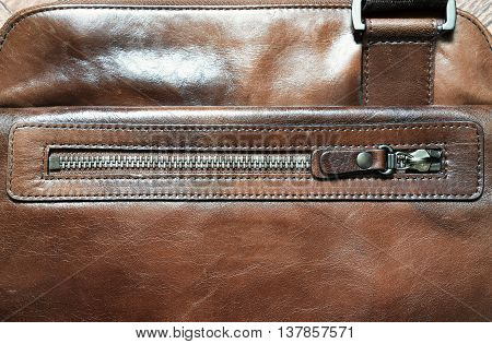 Horizontal brown leather case with zipper background