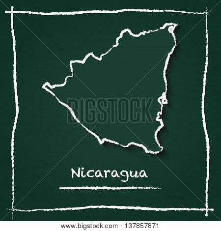 Nicaragua Outline Vector Map Hand Drawn With Chalk On A Green Blackboard. Chalkboard Scribble In Chi