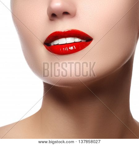 Perfect Smile With White Healthy Teeth And Red Lips, Dental Care