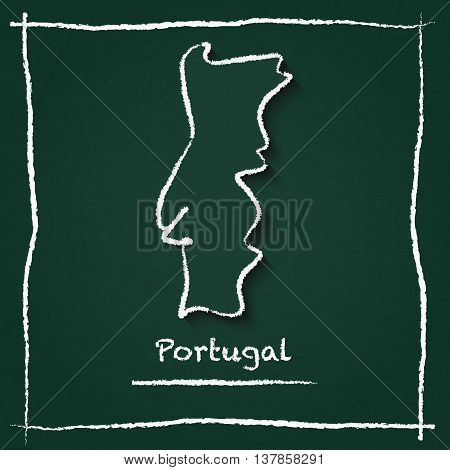 Portugal Outline Vector Map Hand Drawn With Chalk On A Green Blackboard. Chalkboard Scribble In Chil