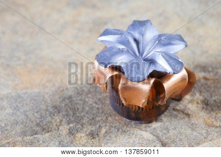 Hollow point bullet with copper jacket after hitting the target