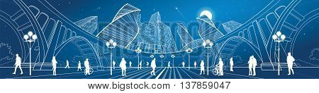 Big bridge, amazing panoramic night city, neon town. Industrial, architecture and infrastructure illustration. White lines landscape, people walk on the street, vector design art