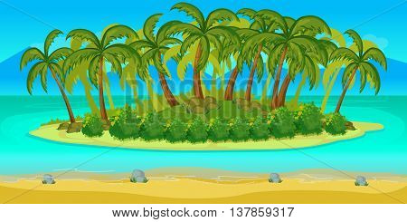 Island Game landscape, vector unending background with separated layers. for game.