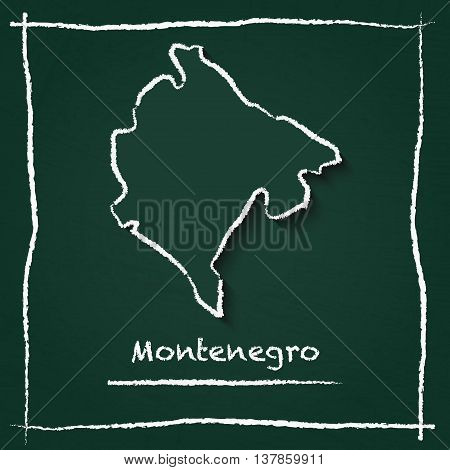 Montenegro Outline Vector Map Hand Drawn With Chalk On A Green Blackboard. Chalkboard Scribble In Ch