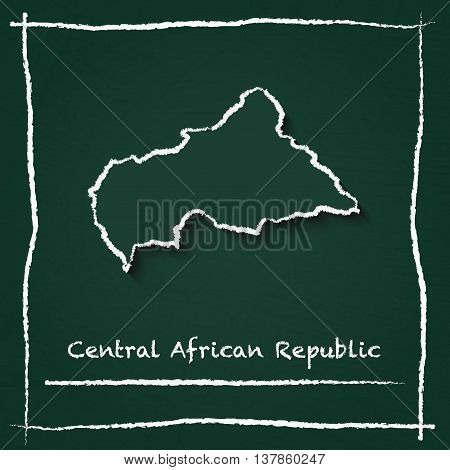 Central African Republic Outline Vector Map Hand Drawn With Chalk On A Green Blackboard. Chalkboard