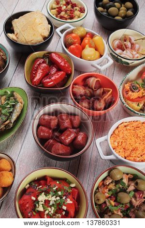 Mediterranean cold buffet food known as tapas, antipasto or mezze
