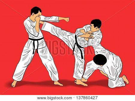 three fighters in a kimono in the jiu-jitsu training