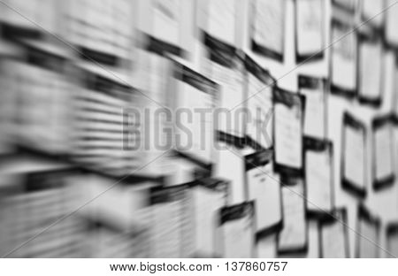 Horizontal black and white sticky notes office brain storm abstraction background backdrop