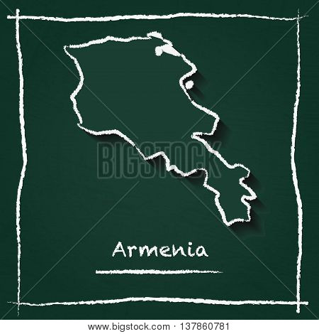 Armenia Outline Vector Map Hand Drawn With Chalk On A Green Blackboard. Chalkboard Scribble In Child