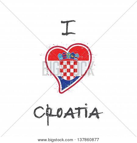 Croatian Flag Patriotic T-shirt Design. Heart Shaped National Flag Croatia On White Background. Vect