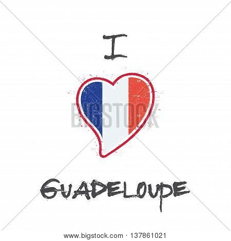 Guadeloupian Flag Patriotic T-shirt Design. Heart Shaped National Flag Guadeloupe On White Backgroun