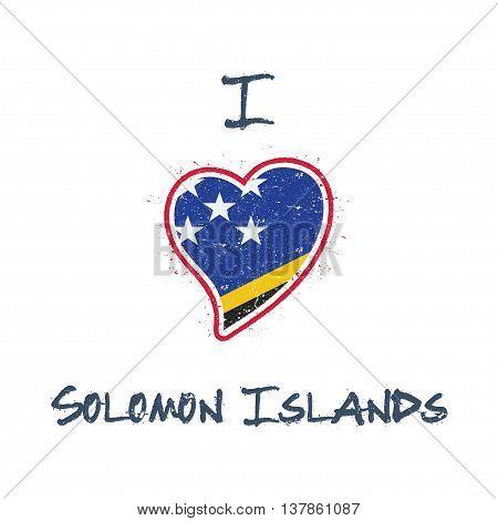 Solomon Islander Flag Patriotic T-shirt Design. Heart Shaped National Flag Solomon Islands On White